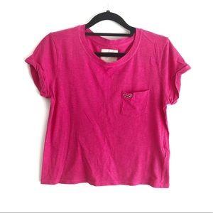 Hollister Pink Pocket Crop Top T Shirt S